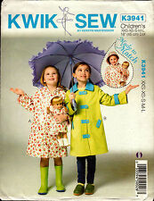 Kwik Sew Sewing Pattern K3941 3941 Children & Dolls Raincoats