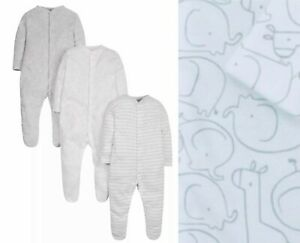 Mothercare Baby Boys Sleepsuits 3 Pack Grey White Elephant Pure Cotton NEW