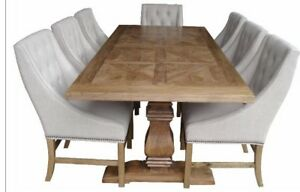 KENSIT FRENCH PROVINCIAL HAMPTONS PEDESTAL DINING TABLE WITH PARQUETRY TOP  ELM