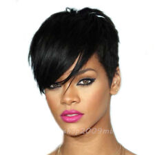Fashion Short Cut Straight Layered Synthetic Wig Black Full Hair For Women Wigs