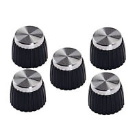Pack of 5 Plastic Guitar AMP Amplifier Knobs Silver Top for  Parts