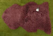 100% GENUINE CURLY Sheepskin Rug - NATURAL WAVY / CRIMPED WOOL - DUSKY PLUM