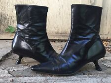 40 AVANT GARDE SLANT HEEL BOOTS black leather pointed toe pointy witch goth vtg