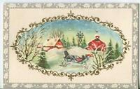 VINTAGE CHRISTMAS FARM GREY HOURSE RED BARN HOUSE SILO SNOW SLEIGH GREETING CARD