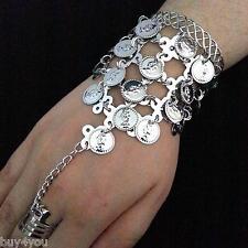 Bauchtanz  Sklavenarmband Handschmuck Armband mit Ring Münzen Silber Armspange