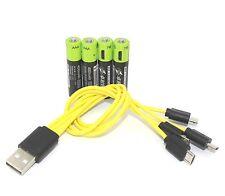 4pcs 1.5V AAA 400mAh li-po rechargeable lithium batteries + USB charging cable