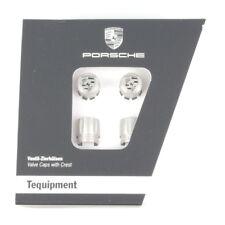 Set New Genuine Porsche Colour Silver Crested Valve Dust Caps TPMS 99104460268