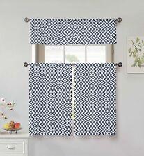 "100% Cotton Navy & White 3pc Curtain Set: Diamond Design, Valance, 2 Tiers 36""L"