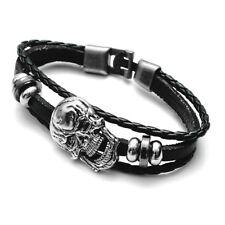 Lederarmband geflochten Totenkopf, Armband skull, bracelet skull