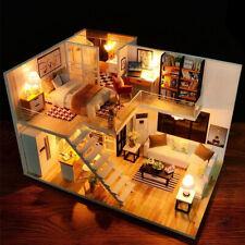 Cadeau Enfant DIY Kit Maison de Poupée Miniature Modèle Meuble Bois Dollhouse