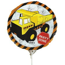 BOYS BIRTHDAY PARTY CONSTRUCTION FOIL BALLOON WITH STICK AIR ONLY 22CM BUILDER