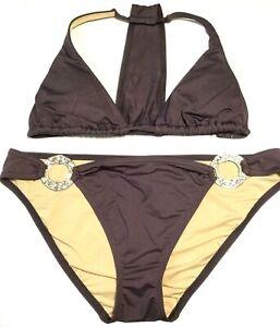 WOMEN'S VICTORIA'S SECRET MEDIUM SWIMSUIT Bikini Swim Top & Bottom w Rhinestones