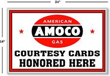 """(AMOC-STA-1) 24""""  AMOCO CREDIT COURTESY CARD STANDARD GASOLINE OIL VINYL DECAL"""