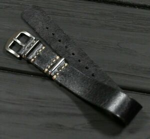 Black Leather Watch Strap Single Pass Distressed Band Gift for Man 18 20 22 24mm