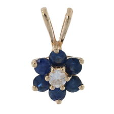 Yellow Gold Sapphire & Diamond Halo Pendant - 14k Round Cut .48ctw Flower