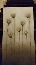 Gold flowers Canadian oil on canvasboard painting EC RARE!