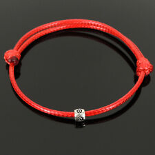 Lucky Chinese Red Wax Rope Bracelet Calm Elegant Statement Sterling Silver Charm