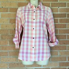 THE NORTH FACE WOMENS SZ Large PINK Gingham ADJUST. SLEEVE BUTTON DOWN SHIRT -B
