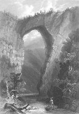 NATURAL BRIDGE ARCH VIRGINIA Cedar Creek, Old 1838 Landscape Art Print Engraving