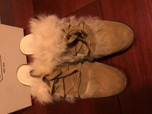Coach Kristy Camel Suede Furry Laced High Heel Mule Slip on Shoes Size 9.5M