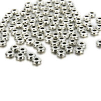 Lot Of Set 100Pcs Silver Stainless Steel Round Spacer Beads DIY Jewelry Making