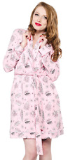 130736 Bettie Page Pink Motel Robe Betty Pinup Retro 50s PJs Sourpuss Large L