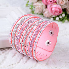 Fashion Crystals Bracelets 2wrap Around PU Leather Adjustable Wrist Ring New MM