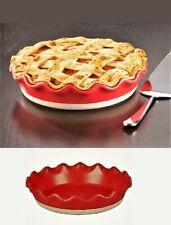 """Premium Stoneware Fluted Pie Plate 10"""" Red Ceramic"""