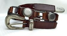 Vtg Western Equestrian Concho Belt Brown & Silver Leather Women's Small 28 30