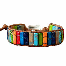 Chakra Armband Schmuck handgefertigt Multi Color Naturstein Tube Pearl Leder