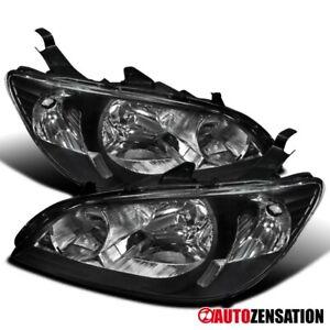 For 2004-2005 Honda Civic 2/4Dr Coupe Sedan Black Headlights Lamps Left+Right