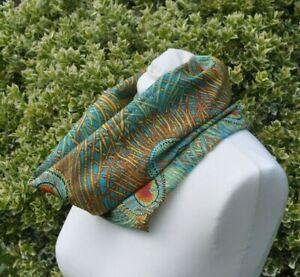 Cowl//snood Scarf in Liberty Tana Lawn cotton rust khaki blue on ivory art deco