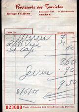 "GENEVE (SUISSE) RESTAURANT ""BRASSERIE DES TOURISTES"" REFUGE VALAISAN en 1956"