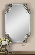 RICH FRAMELESS BEVELED WALL MIRROR DECORATIVE CORNERS CONTEMPORARY & VINTAGE