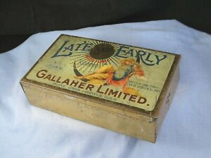ANTIQUE VINTAGE ENAMEL LATE AND EARLY GALLAHER LTD CIGARETTE TOBACCO TIN BOX