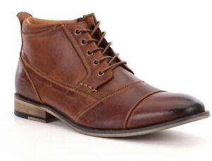 new steve madden Mens Jabbar  Cap Toe Boot Shoes size 8 Leather Dark Tan lace up