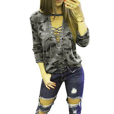 Women V-Neck Lace Up Bandage Casual Camouflage Blouse Tops Thick Tee T-Shirt HX