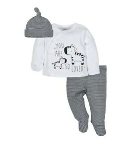 Gerber Infants Unisex 3 Pcs Set New Born 100% Organic Cotton Zebra Pattern New