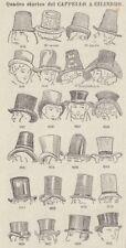 C2889 Quadro storico del Cappello a cilindro - Stampa d'epoca - 1936 old print
