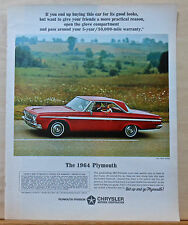 1963 magazine ad for Plymouth - red 1964 Fury 2-door hardtop, strong warranty