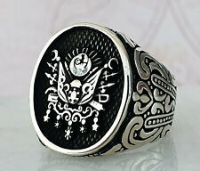 Turkish Ottoman Solid 925 Sterling Silver Mens Ring Men Ring