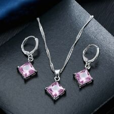 Silver Filled Cubic Zirconia Square Pendant Necklace & Earring Jewellery Set UK