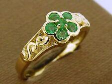R137- Genuine 14K 585 Solid Gold Natural Emerald Blossom filigree Ring size N