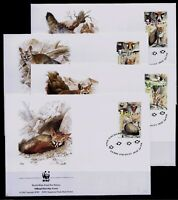 2000 WWF ENDANGERED SPECIES ANIMALS FOX FAUNA 4 ISRAEL STAMPS ON 4 FDC