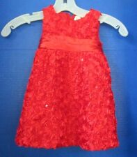 RARE TOO~Red Party / Holiday DRESS w/ ROSETTES & SEQUINS~Infant Girls 12 month