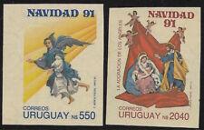 URUGUAY1991, IMPERFORATE SET CHRISTMAS unmounted mint, Mi.1937-38 WEIHNACHTEN