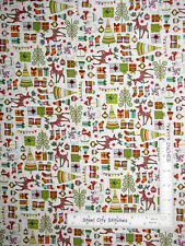 Christmas Reindeer Present Tree White Cotton Fabric Makower Festive By The Yard