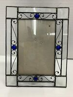 """Stained Glass Metal Picture Frame Holds 4""""x6"""" Photos UR1 International Easel"""