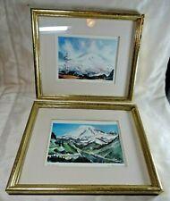 Set of 2 framed Charles Mulvey Mt. Rainier watercolor prints