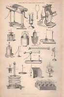 1874 Stampa ~ Elettricità Electro Magnetismo ~ Varie Attrezzatura Apparato